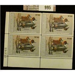 995 _ 1983 Plateblock of Four RW50 U.S. Department of Agriculture Migratory Bird Hunting $7.50 Stamp