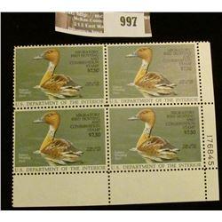 997 _ 1986 Plateblock of Four RW53 U.S. Department of Agriculture Migratory Bird Hunting $7.50 Stamp