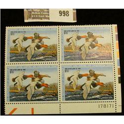 998 _ 1987 Plateblock of Four RW54 U.S. Department of Agriculture Migratory Bird Hunting $10.00 Stam