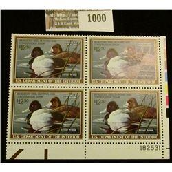 1000 _ 1989 Plateblock of Four RW56 U.S. Department of Agriculture Migratory Bird Hunting $10.00 Sta