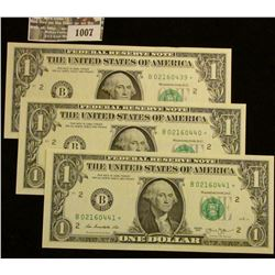 1007 _ (3) Consecutive numbered Crisp Uncirculated Series 2013 Star Replacement Notes.