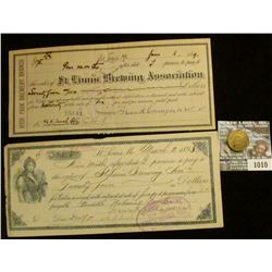 """1010 _ Three-piece """"St. Louis Brewery"""" memorabilia from 1890 era. Includes check, receipt, and Token"""