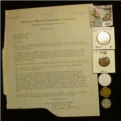 "1011 _ 1922 Letter on Letter head ""Stanley Motor Carriage Company Newton, Massachusetts; 1948 possib"
