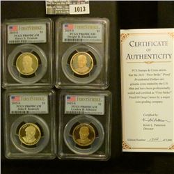 """1013 _ 2015 S """"First Strike Proof Presidential Dollar Coins"""" Set in fantastic gold embossed case. Ea"""