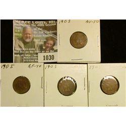 1030 _ (3) 1905 EF & (1) AU U.S. Indian Head Cents.