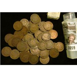 1059 _ 1898 Solid Date Roll of (50) U.S. Indian Head Cents stored in a plastic tube. All solid Good