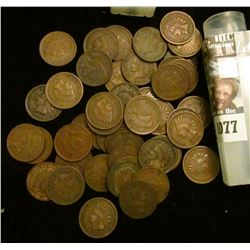 1077 _ 1904 Solid Date Roll of (50) U.S. Indian Head Cents stored in a plastic tube. All solid Very