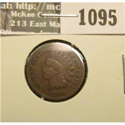 1095 _ 1908 S U.S. Indian Head Cent, Good+.