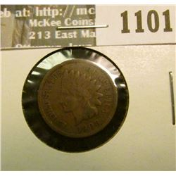 1101 _ 1908 S U.S. Indian Head Cent, Fine.
