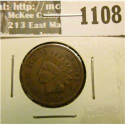 1108 _ 1909 P U.S. Indian Head Cent, Very Fine.