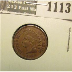 1113 _ 1909 P U.S. Indian Head Cent, Extra Fine.