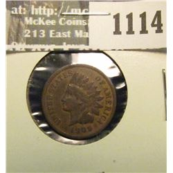 1114 _ 1909 S U.S. Indian Head Cent, Fine.