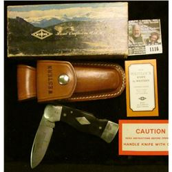 1116 _ Western U.S.A. Folding Knife with sheath in original box of issue. Model no. S-531. Mint, unu
