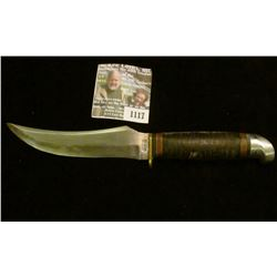 "1117 _ Western Sheath Knife (no sheath) 5"" blade, banded leather with black and red bands and alumin"