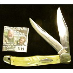 "1119 _ Western Two-blade Folder Knife with 4"" blades, yellow mother-of-pearl handle, silver-colored"