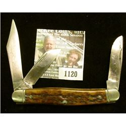 1120 _ Western Three-blade Folding Knife, Staghorn handle, used.