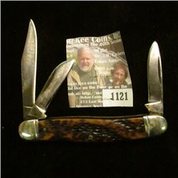 1121 _ Western Three-blade Folding Knife, Staghorn handle, used. Silver-colored inlay. Model 742B.