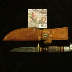 "1122 _ Western Sheath Knife with sheath & 3"" blade, banded black and red bands with Stag horn and al"