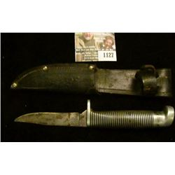 "1127 _ Western Sheath Knife with sheath & 3 1/4"" blade, banded black with silver-colored bands and a"