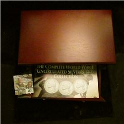 "1131 _ ""The Complete World War II Uncirculated Silver Nickel Collection"" in a Superb felt-lined Cher"
