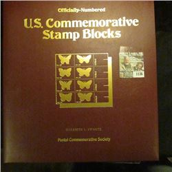"1136 _ ""Officially-Numbered U.S. Commemorative Stamp Blocks"" issued by the Postal Commemorative Soci"
