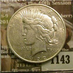 1143 _ 1922 D U.S. Peace Silver Dollar.