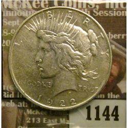 1144 _ 1922 D U.S. Peace Silver Dollar.