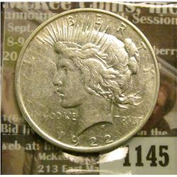 1145 _ 1922 D U.S. Peace Silver Dollar.
