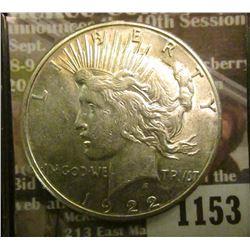1153 _ 1922 S U.S. Peace Silver Dollar. AU-BU.