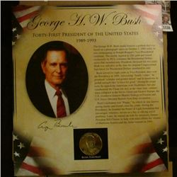 1158 _ 1989-1993 George Bush Portrait Medal in original framable mount.