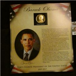 1161 _ 2009-2017 Barack Obama Presidential Proof Brass Medal in original framable holder.
