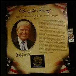1162 _ 2017- Donald Trump Presidential Proof Brass Medal in original framable holder.