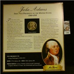 1163 _ 1789-1797 John Adams Presidential Proof Brass Medal in original framable holder.
