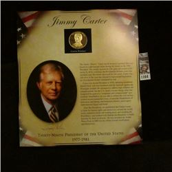 1164 _ 1977-1981 Jimmy Carter Presidential Proof Brass Medal in original framable holder.