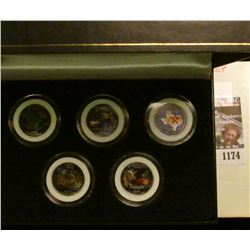 1174 _ 2004 Colorized Statehood Five-Piece Quarter Set in a fancy holder and special box. Each coin