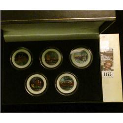 1175 _ 2005 Colorized Statehood Five-Piece Quarter Set in a fancy holder and special box. Each coin
