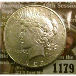 1179 _ 1922 S U.S. Peace Silver Dollar