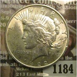 1184 _ 1922 P U.S. Peace Silver Dollar. Brilliant Uncirculated.