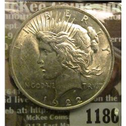 1186 _ 1922 P U.S. Peace Silver Dollar. Brilliant Uncirculated.
