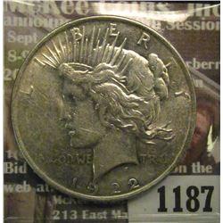1187 _ 1922 P U.S. Peace Silver Dollar