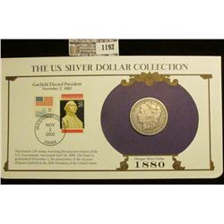 1192 _ 1880 P Morgan Silver Dollar in a special protected cover with post marked commemorative cover