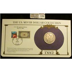 1194 _ 1882 New Orleans Mint Morgan Silver Dollar in a special protected cover with post marked comm