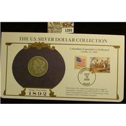 1204 _ 1892 New Orleans Mint Morgan Silver Dollar in a special protected cover with post marked comm