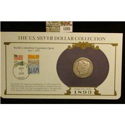 1205 _ 1893 New Orleans Mint Morgan Silver Dollar in a special protected cover with post marked comm