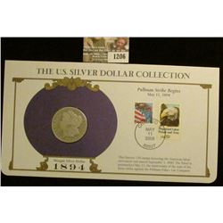 1206 _ 1894 New Orleans Mint Morgan Silver Dollar in a special protected cover with post marked comm