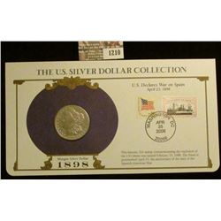 1210 _ 1898 San Francisco Mint Morgan Silver Dollar in a special protected cover with post marked co
