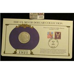 1217 _ 1921 San Francisco Mint Morgan Silver Dollar in a special protected cover with post marked co