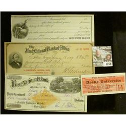 "1256 _ Pair of 1927-28 ""Drake University…reserved seat…"" tickets; early 1900 Promissory note (unissu"