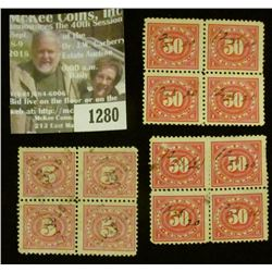 1280 _ Pack of (12) Documentary Stamps, (2) 50c block of four, (1) Five Cent Block of four.