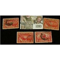 1283 _ Pack of (4) 1913 Parcel Post Stamps. (3) Scott Q1 & (1) Scott Q5.